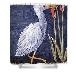 Young Egret Takes A Walk Shower Curtain