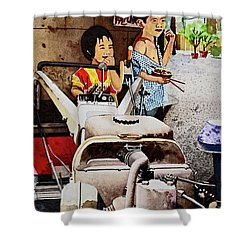 Young Farmer's Breaktime Shower Curtain