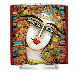 Young Girl Shower Curtain by Albena Vatcheva