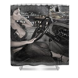 Shower Curtain featuring the photograph Young Girl In The Cabin Of An Vintage Car. by Andrey  Godyaykin