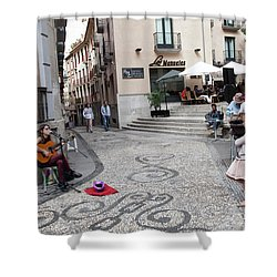 Shower Curtain featuring the photograph Young Girl Listening To Guitar - Grenada - Spain by Madeline Ellis