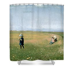 Young Girls Picking Flowers In A Meadow Shower Curtain by Michael Peter Ancher