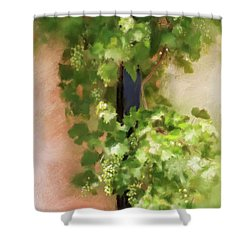 Shower Curtain featuring the digital art Young Greek Wine by Lois Bryan