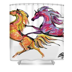 Young Horses Playing Shower Curtain