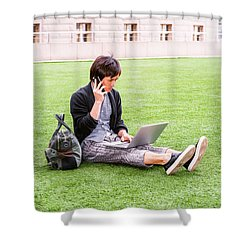 Young Japanese Man Traveling, Working In New York 15041418 Shower Curtain