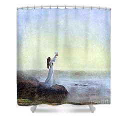 Young Lady Releasing A Dove By The Sea Shower Curtain
