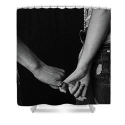 Young Love - Pinky Touch Shower Curtain by Scott Sawyer