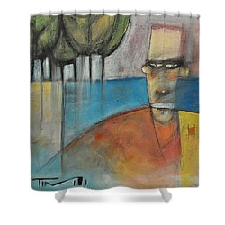 Young Man And The Sea With Trees Shower Curtain by Tim Nyberg