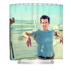 Young Man Relaxing On The Beach Shower Curtain
