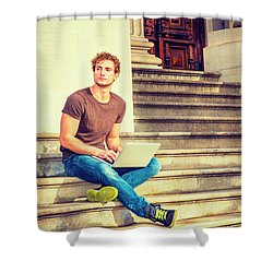 Young Man Working Outside In New York Shower Curtain