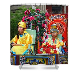 Shower Curtain featuring the photograph Young People Dreesed In Traditional Chinese Robes by Yali Shi