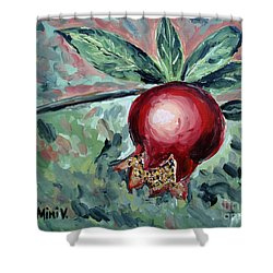 Shower Curtain featuring the painting Young Pomegranate by Maria Langgle