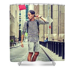 Young Russian Man Traveling In New York Shower Curtain