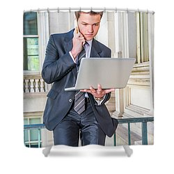 Young School Boy Working Remotely 15042510 Shower Curtain