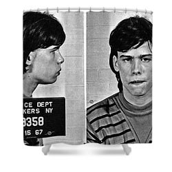 Young Steven Tyler Mug Shot 1963 Pencil Photograph Black And White Shower Curtain
