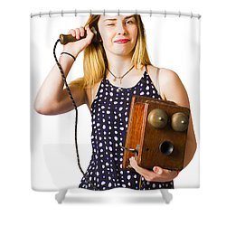 Shower Curtain featuring the photograph Young Telephonist Phoning Using Old Vintage Phone by Jorgo Photography - Wall Art Gallery