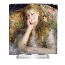 Young Woman Seated Shower Curtain by Pierre Auguste Renoir