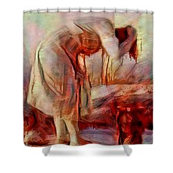Young Woman Washing River Bent Over Old Master Sketch Painting In Orange Blue Oil-like Acrylic Warm Paint Shower Curtain by MendyZ