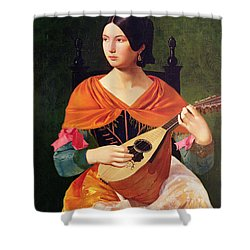 Young Woman With A Mandolin Shower Curtain by Vekoslav Karas