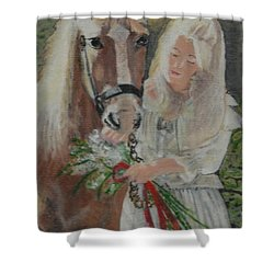 Young Woman With Horse Shower Curtain