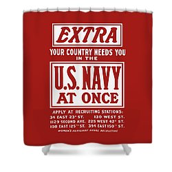 Your Country Needs You In The Us Navy Shower Curtain by War Is Hell Store