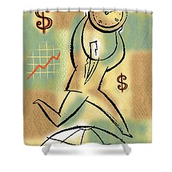 Shower Curtain featuring the painting Your Income by Leon Zernitsky