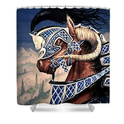 Shower Curtain featuring the painting Yuellas The Bulvaen Horse by Curtiss Shaffer
