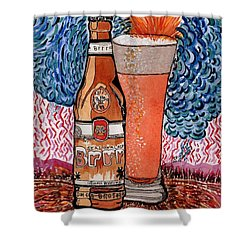 Yum Burr Hyf. Beer Shower Curtain by Connie Valasco