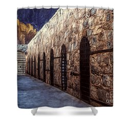 Shower Curtain featuring the photograph Yuma Prison Cellblock  ... by Chuck Caramella