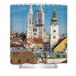 Zagreb Cathedral And St. Mary's Church Shower Curtain by Steven Richman