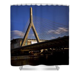 Zakim Bridge And Boston Garden At Sunset Shower Curtain by Rick Berk