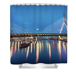 Zakim Bridge And Charles River At Dawn Shower Curtain