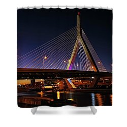 Zakim Bridge Boston Massachusetts At Night Shower Curtain