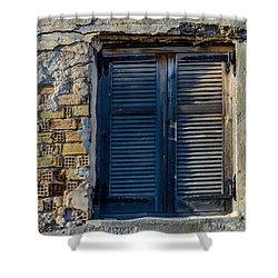 Zakynthos Town Window Shower Curtain