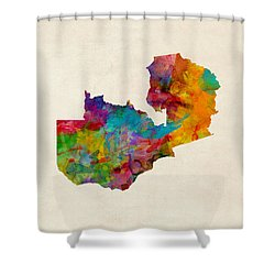 Zambia Watercolor Map Shower Curtain