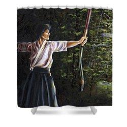 Zanshin Shower Curtain by Hiroko Sakai