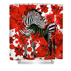 Zebra And Flowers Shower Curtain
