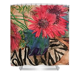 Zebra And Red Sunflowers  Shower Curtain