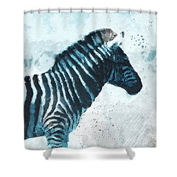 Zebra- Art By Linda Woods Shower Curtain