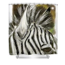 Shower Curtain featuring the digital art Zebra Digital by Darren Cannell
