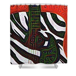 Zebra Guitar Rendering Shower Curtain by Bill Cannon