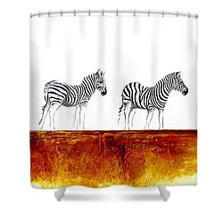 Zebra Landscape - Original Artwork Shower Curtain