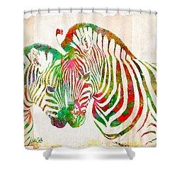 Zebra Lovin Shower Curtain by Nikki Smith
