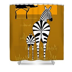 Zebra Mare With Baby Shower Curtain