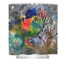 Zebra Mares Shower Curtain by Jane Deakin