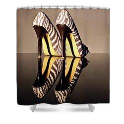 Zebra Print Stiletto Shower Curtain by Terri Waters
