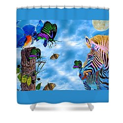 Zebras Birds And Butterflies Good Morning My Friends Shower Curtain