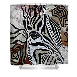 Zebroid Shower Curtain