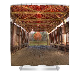 Sycamore Park Covered Bridge Shower Curtain