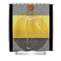 Shower Curtain featuring the mixed media Zen Cat by Larry Talley